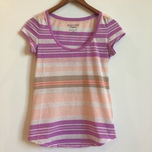 American Eagle Pastel Striped Tee